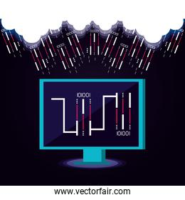 monitor computer with data center icons