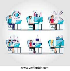 group people working and set icons business