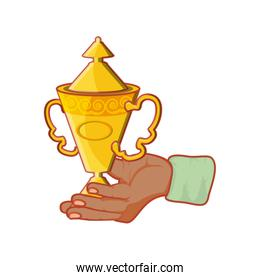 hand with trophy award cup