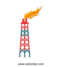 tower of plant oil extraction with flames