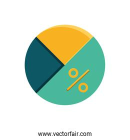 statistical graphic in pie isolated icon