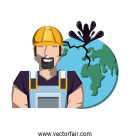 oil industry worker with earth planet