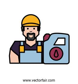 worker character with gallon of gasoline