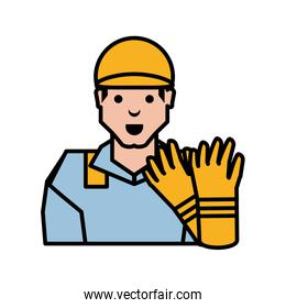 oil industry worker with gloves