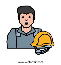 oil industry worker with helmet