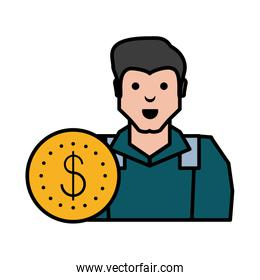 oil industry worker with coin