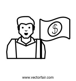 oil industry worker with money flag
