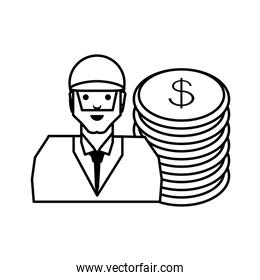 oil industry worker with coins