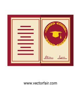 graduation certificate isolated icon