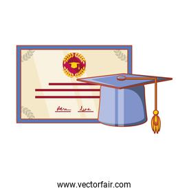 hat graduation with certificate isolated design