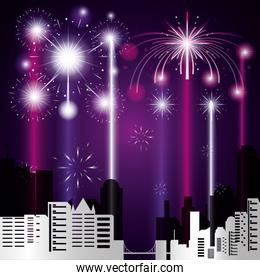 scene cityscape with fireworks