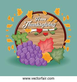 grapes with frame of thanksgiving day