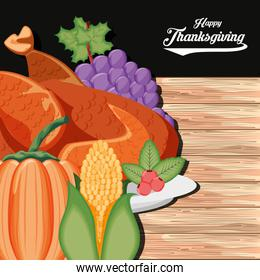 turkey with grapes and food of thanksgiving day