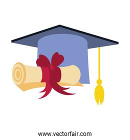 hat graduation with certificate isolated icon