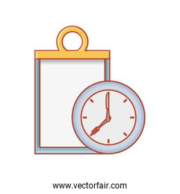 checklist clipboard with clock time