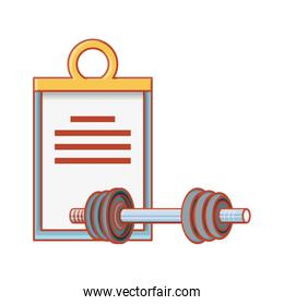 checklist clipboard with dumbbell sport fitness