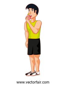 young athletic man eating apple