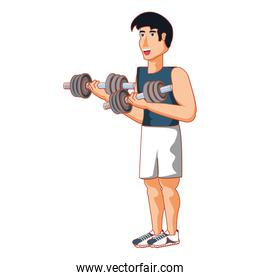 young athletic man with dumbbells sport