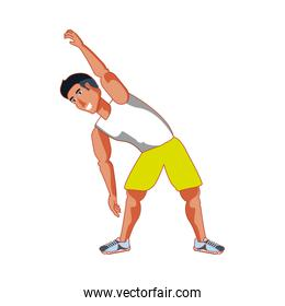 young athletic man doing stretching