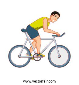young athletic man in bicycle