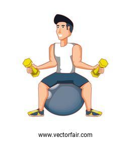young athletic man practicing pilates