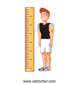 young athletic man with measuring tape