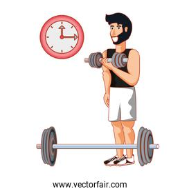 young athletic man with dumbbell sport
