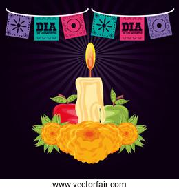 candle to decorate in day of the dead