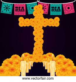 flower cross with candles of day the dead