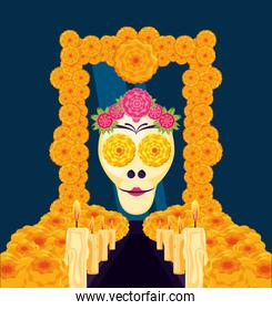 mask of the santa death in frame flowers
