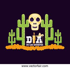 skull and cactus day of the dead card