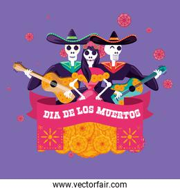 mariachi and catrina skulls day of the dead party