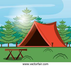 camping zone with tent and landscape