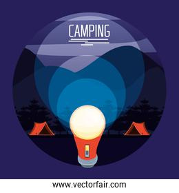 camping zone with tents and lantern