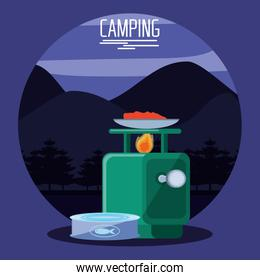 camping zone with oven querosene