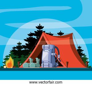 camping zone with tent and forest