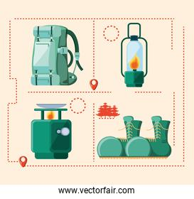 set accessories of camping zone