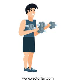 athletic man with dumbbells sport