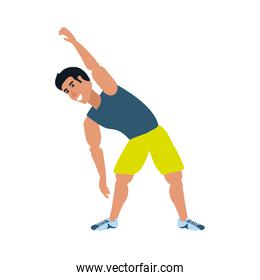 young athletic man doing stretching character