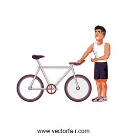 young athletic man with bicycle