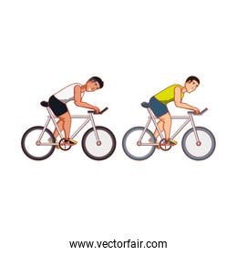 young athletic men in bikes