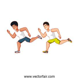 young athletic men running avatar character