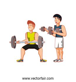 young athletic men with dumbbells sport