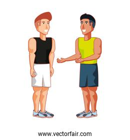 young athletic men avatar character