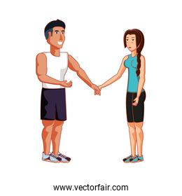 young athletic couple holding hands