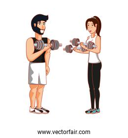 young athletic couple with dumbbells sport