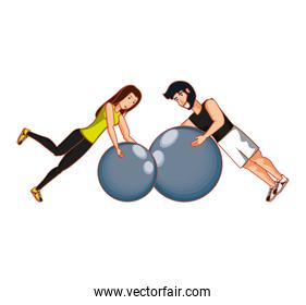 young athletic couple practicing pilates