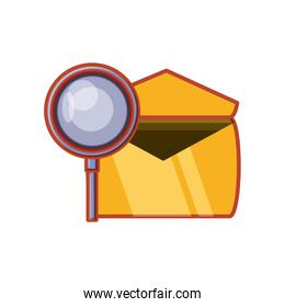 envelope mail with magnifying glass