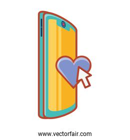 smartphone with heart and arrow mouse