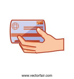 hand with credit card isolated icon